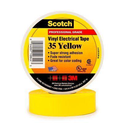 цена на Лента 3M Scotch 35 7000031671 изоляционная ПВХ 19x20000мм жёлтый