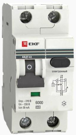 Выключатель EKF DA63-16-30 авт. диф. тока 1п+n 2мод. c 16а 30мА тип ac 6ка авдт-63 proxima
