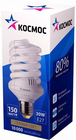 Лампа энергосберегающая спираль КОСМОС SPC E27 30W 2700K лампа энергосберегающая спираль ecowatt mini sp 15w 827 e27 e27 15w 2700k