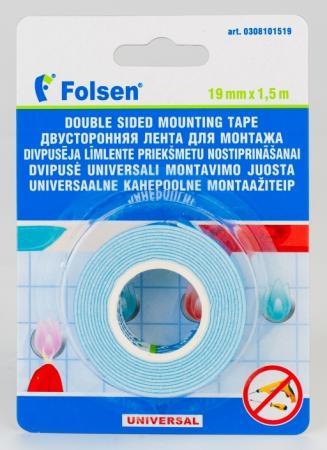 Лента для монтажа FOLSEN 19мм х 1,5м x 1,1мм, белая, вспененный РЕ световозвращающая лента oralite reflexite vc104 tanker stickers для жесткого борта для цистерн белая 50 м