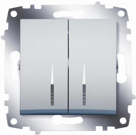 цена на Выключатель ABB COSMO 619-011000-203 алюминий 2кл с подсв.