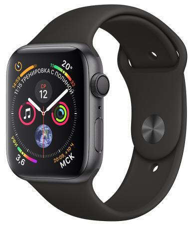 цена на Apple Watch Series 4, 44 мм, корпус из алюминия цвета «серый космос», спортивный ремешок черного цвета [MU6D2RU/A]