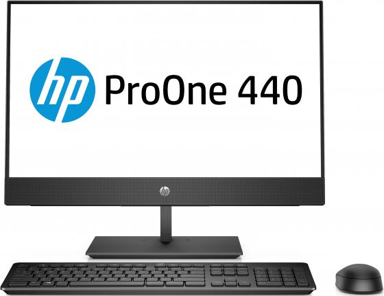 Моноблок HP ProOne 440 G4 23.8 Full HD i3 8100T (3.1)/4Gb/1Tb 7.2k/UHDG 630/DVDRW/Windows 10 Home Single Language 64/GbitEth/WiFi/BT/клавиатура/мышь/черный 1920x1080 моноблок hp proone 440 g4 4nt88ea 24 fullhd core i5 8500t 4gb 500gb dvd kb m win10 pro