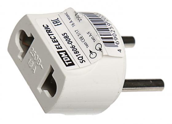 Вилка ТДМ SQ1806-0085 переходник тип С1-В - тип A/F круглый 16A 250В белый