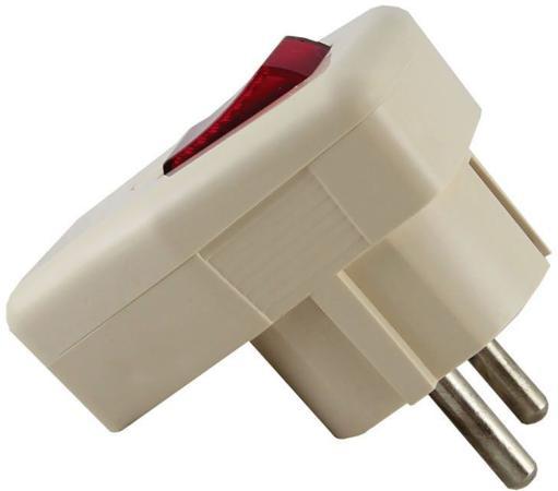Вилка TDM SQ1806-0009 угловая с/з с выключателем белая 16А 250В