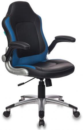 Кресло руководителя Бюрократ CH-825A/BLACK+BL вставки синий сиденье черный искусственная кожа (пластик серебро) кресло руководителя бюрократ ch 868axsn red сиденье красный искусственная кожа пластик темно серый