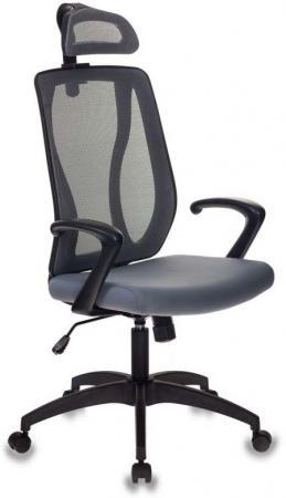 Кресло руководителя Бюрократ MC-411-H/DG/26-25 серый TW-04 сиденье серый 26-25 сетка/ткань стул бюрократ вики dg 15 13 спинка сетка темно серый сиденье темно серый 15 13