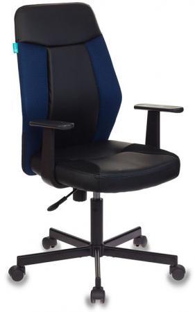 Кресло Бюрократ CH-606/BL+TW-10N черный/синий искусст.кожа/ткань крестовина металл кресло бюрократ ch 599axsn на колесиках ткань темно синий [ch 599 db tw 10n]