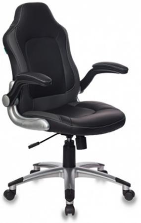 Кресло руководителя Бюрократ CH-825A/BLACK+GR вставки серый сиденье черный искусственная кожа (пластик серебро) кресло руководителя бюрократ ch 868axsn red сиденье красный искусственная кожа пластик темно серый