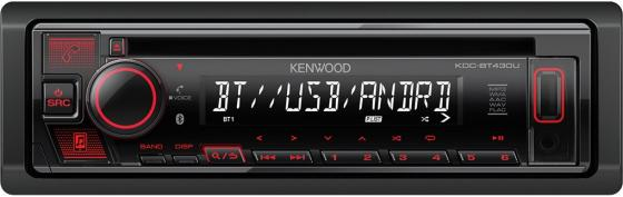 Автомагнитола CD Kenwood KDC-BT430U 1DIN 4x50Вт автомагнитола kenwood kmm 105gy 1din 4x50вт