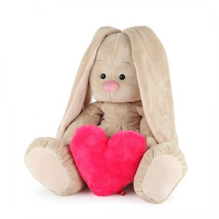 Мягкая игрушка зайка BUDI BASA Зайка Ми Большой с сердцем 34 см искусственный мех