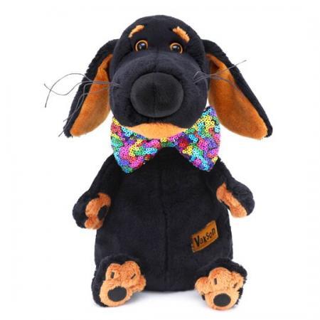 Мягкая игрушка собака BUDI BASA Ваксон в галстуке-бабочке в пайетках 25 см искусственный мех мягкая игрушка в пайетках сова 10см