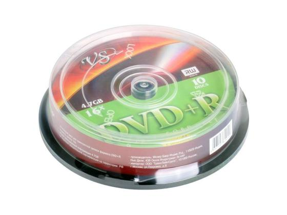 Диски DVD+R VS 4.7Gb 16x CakeBox Printable 10шт диски cd dvd thunis dvd r dvd r 16x 25