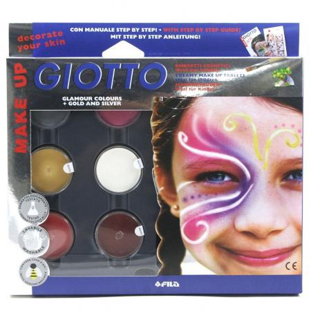 цены на Краски для лица GIOTTO Грим фантазийные цвета с кистью и спонжем 6 цветов  в интернет-магазинах