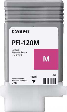 Фото - Картридж струйный Canon PFI-120 M 2887C001 пурпурный для Canon ТМ-серия картридж струйный canon pfi 120 c 2886c001 голубой 130мл для canon imageprograf tm 200 205
