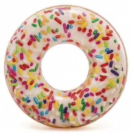 Надувной круг Intex Пончик с глазурью с56263 надувной круг intex прозрачный с ручками