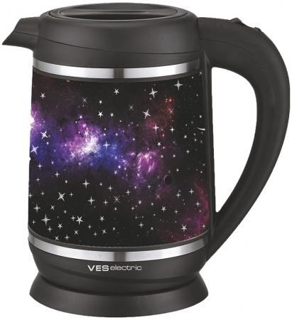 Чайник VES 2000-S 2200 Вт чёрный с рисунком 1.7 л стекло