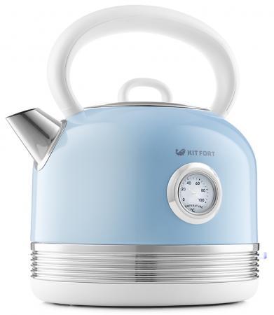 Чайник электрический KITFORT КТ-634-4 2150 Вт голубой 1.7 л металл/пластик чайник электрический kitfort кт 634 3 2150 вт бежевый 1 7 л пластик