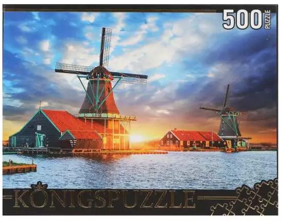 Пазл 500 элементов Konigspuzzle Нидерланды. Музей мельниц пазл ангел и розы лиза джейн konigspuzzle 500 деталей