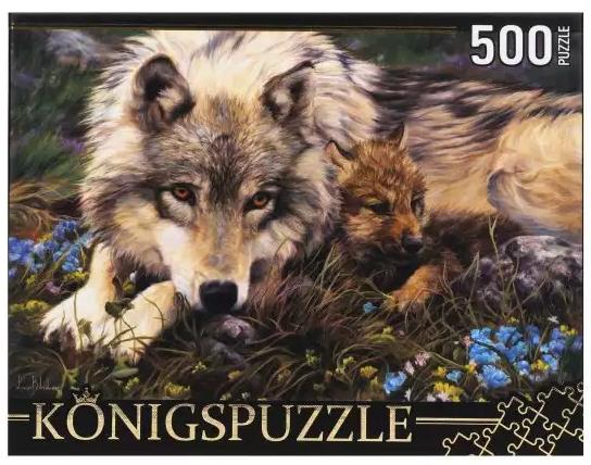 Фото - Пазл 500 элементов Konigspuzzle Люси Билодо. Волчица и волчонок konigspuzzle пазл masterpuzzle осенний нью йорк 500 элементов