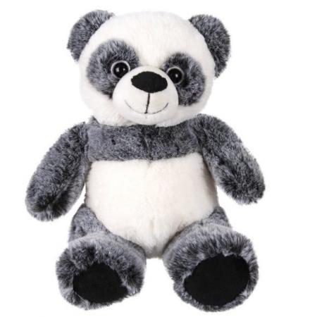 Мягкая игрушка панда Fluffy Family Панда 22 см белый черный искусственный мех трикотаж пластик