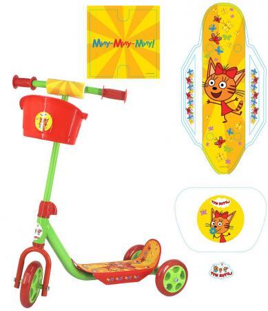 Купить Самокат трехколёсный Next Три кота 145/120 мм желтый ST-PL-CATS, Трехколесные самокаты для детей