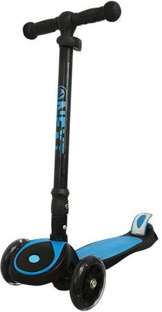 Самокат трехколёсный Next S925L-BLUE 120/80 мм черный-голубой самокат next alu 2 race