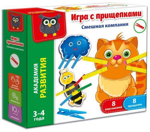 Настольная игра развивающая Vladi toys Смешная компания (с прищепками) VT5303-06 настольная игра vladi toys развивающая веселый фермер с липучками