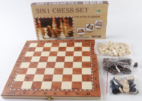 Настольная игра стратегическая Shantou 3-в-1 (шашки, шахматы, нарды) W001M B1530346 настольная игра нарды шахматы нарды малые деревянные в ассортименте в 1