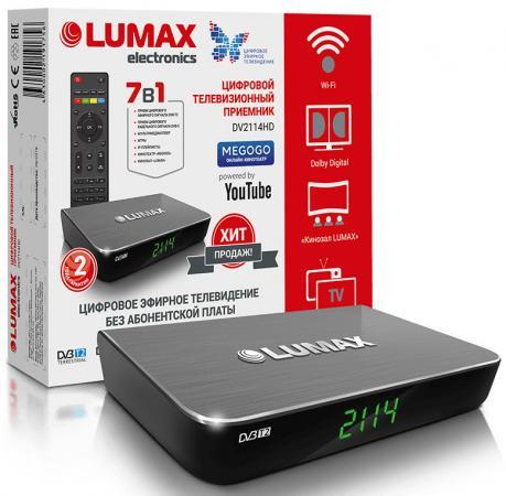 Фото - Приставка DVB-T2 LUMAX/ GX3235S, Пластик, Dolby Digital, Wi-Fi, IPTV-плейлисты, YouTube, Кинозал LUMAX (более 500 фильмов), MEGOGO, 3 RCA, USB, HDMI приставка
