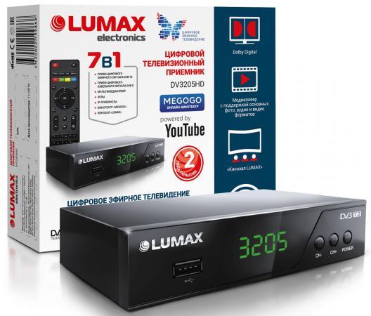 Фото - Приставка DVB-T2 LUMAX/ GX3235S, металл Stealth, дисплей, Dolby Digital, Wi-Fi, IPTV-плейлисты, YouTube, Кинозал LUMAX (более 500 фильмов), MEGOGO, 3 RCA, USB, встроенный блок питания приставка