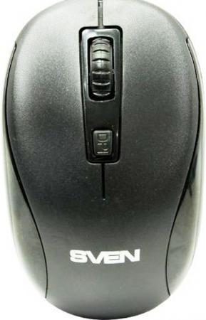 Беспроводная мышь SVEN RX-255W чёрная (2,4 GHz, 3+1кл. 800-1600DPI, цвет. картон)