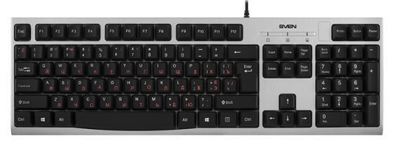 лучшая цена Клавиатура проводная Sven KB-S300 USB серебристый SV-016661