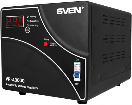 Stabilizer SVEN VR-A3000, Relay, 3000VA, 1800W, 140-275v, output terminals, black, 317 ? 230 ? 240mm, 7.2kg.