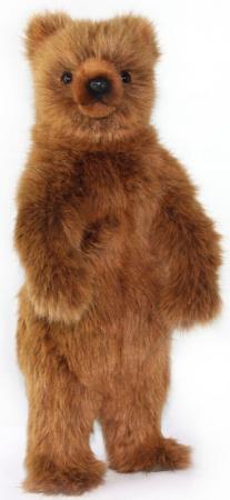 Мягкая игрушка Медведь Hansa Медведь гризли стоящий 40 см коричневый искусственный мех цена