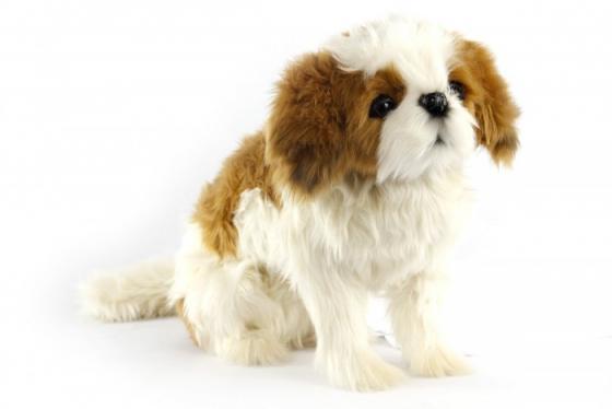 Мягкая игрушка собака Hansa Ши-тцу сидящая 36 см текстиль искусственный мех пластик металл подушка ши тцу