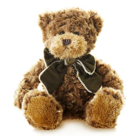 купить Мягкая игрушка Мишка Рино с Бантом MAXITOYS TS-A5529-32B 23 см коричневый искусственный мех трикотаж онлайн
