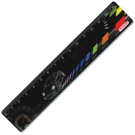 Фото - Линейка пластиковая 15 см, ПИФАГОР Авто, цветная печать, с волнистым краем, европодвес, 210634 линейка деревянная 30 см пифагор 210669
