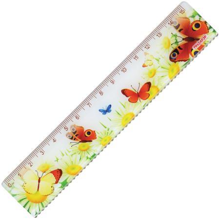 Фото - Линейка пластиковая 15 см, ПИФАГОР Бабочки, цветная печать, с волнистым краем, европодвес, 210635 линейка деревянная 30 см пифагор 210669