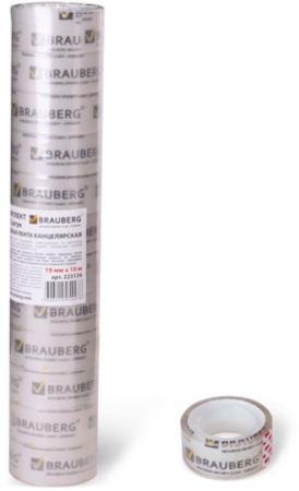 Клейкая лента BRAUBERG 223124 19мм x 10 м канцелярская, комплект 12 шт.