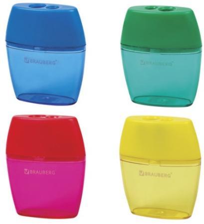 """Точилка BRAUBERG """"Diamond Dual"""" с контейнером, пластиковая, овальная, 2 отверстия, цвет ассорти, 226941"""