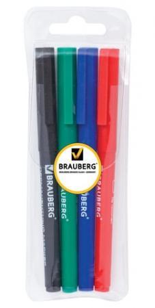 Набор маркеров перманентных BRAUBERG 150295 1 мм 4 шт синий черный красный зеленый набор стяжек hyperline gt 160m 160x2 5мм 500шт 100 белый 100 красный 100 зеленый 100 желтый 100 черный