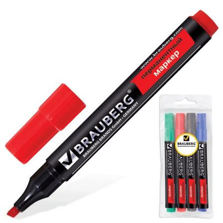 цена на Набор маркеров перманентных BRAUBERG 150473 1-5 мм 4 шт синий зеленый черный красный