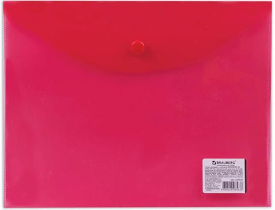 Папка-конверт с кнопкой BRAUBERG, А5, 240х190 мм, 150 мкм, прозрачная, красная, 224026 папка конверт с кнопкой а5 прозрачная желтая