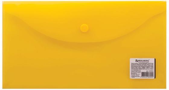 Папка-конверт с кнопкой BRAUBERG, 250х135 мм, 150 мкм, прозрачная, желтая, 224032 папка конверт с кнопкой а5 прозрачная желтая
