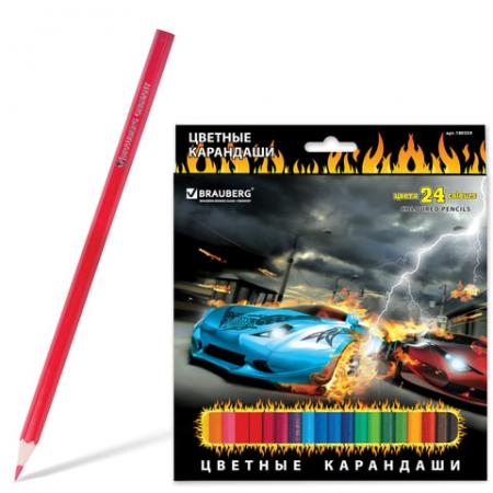 Набор цветных карандашей BRAUBERG InstaRacing 24 шт 176 мм