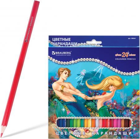 Набор цветных карандашей BRAUBERG Морские легенды 24 шт 176 мм