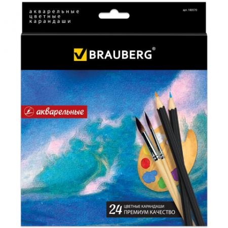 Набор цветных карандашей BRAUBERG Artist line 24 шт 176 мм акварельные