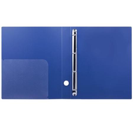 Папка на 4 кольцах BRAUBERG Диагональ, 40 мм, темно-синяя, до 300 листов, 0,9 мм, 221350 папка файл на 4 кольцах темно синяя pvc 35 мм диаметр 20мм 08 1693 2 тс
