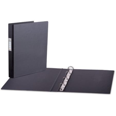 Папка на 4 кольцах BRAUBERG, картон/ПВХ, 35 мм, черная, до 180 листов, 221483